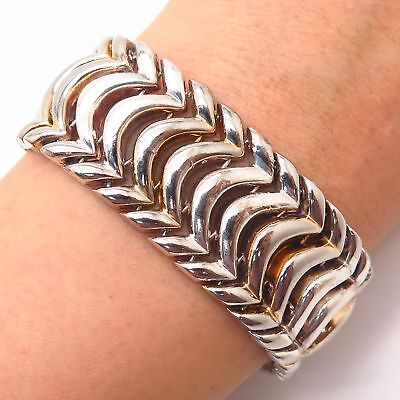 $215.99 • Buy 925 Sterling Silver Italy Wide Foxtail Link Bracelet 6 3/4