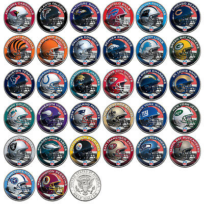 $8.95 • Buy NFL HELMET LOGOS JFK Half Dollar US Football Coins OFFICIALLY LICENSED 32 TEAMS