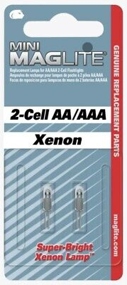 MAGLITE Pack Of 2 Xenon Bulbs For 2-Cell AA/AAA Torch LM2A001L  NEW & SEALED  • 12.45£