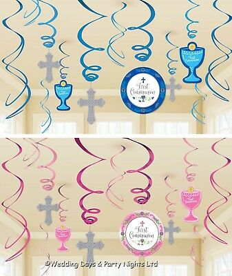 12 First 1st Holy Communion Hanging Swirls Cutouts Party Decorations Ceiling • 4.49£