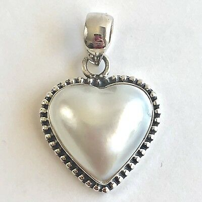 $49 • Buy Mabe Blister Pearl Heart Pendant 925 Sterling Silver White Natural