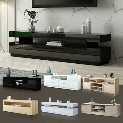 AU115.95 • Buy Modern TV Stand Entertainment Side Unit 2 Doors Wooden Storage Cabinet Furniture