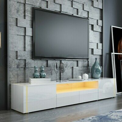 AU229.95 • Buy 205cm RGB LED TV Stand Cabinet Wood Entertainment Unit Gloss Front Storage White