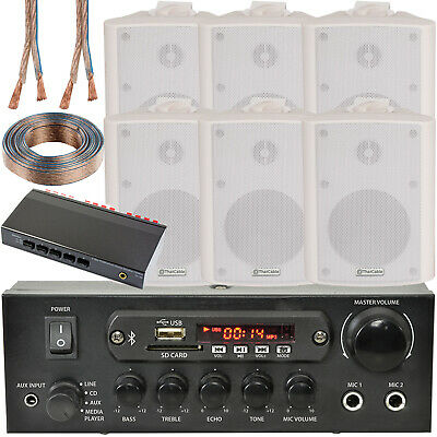 3 Zone Bluetooth Speaker Kit–6x 70W White Wall Mounted–Home Bar Stereo Amplifier • 239.99£