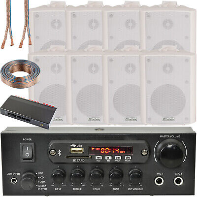 4 Zone Bluetooth Speaker Kit–8x 70W White Wall Mounted–Home Bar Stereo Amplifier • 299.99£