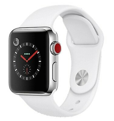 $ CDN343.47 • Buy Apple Watch Series 3 42mm Stainless Steel Case White Band GPS + Cellular) Watch