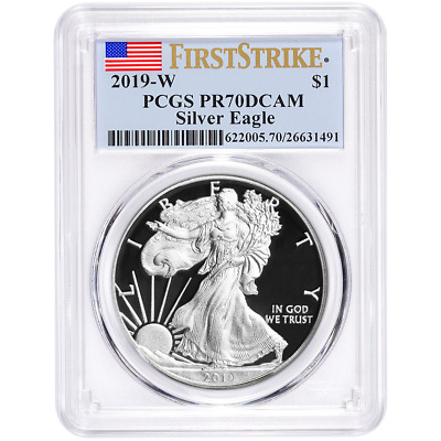 $90.95 • Buy 2019-W Proof $1 American Silver Eagle PCGS PR70DCAM First Strike Flag Label
