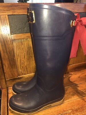 0917891ffe83 Joules Evedon Blue Red Bows Womens UK 5 US 7 Rubber Tall Knee Wellies Rain  Boots