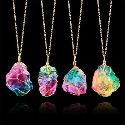AU2.71 • Buy Rainbow Stone Natural Crystal Chakra Rock Chain Quartz Pendant Necklace Jewelry