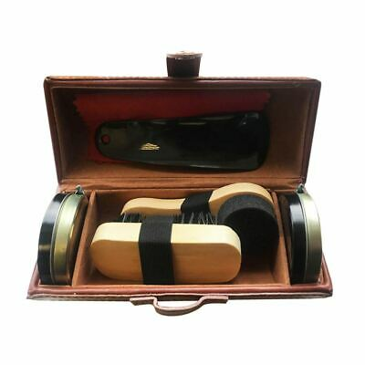 £7.59 • Buy Shoe Cleaning Care Kit Set For Brown Black Leather With Polish Brush Travel Case