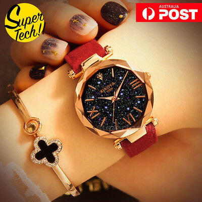AU8.99 • Buy Fashion Women Starry Sky Watch Dress Watches Leather Band Quartz WristWatch