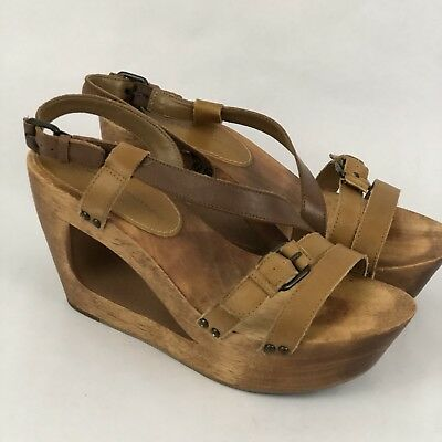 a1ef55b3ce7 Schuler Sons Anthropologie Women Wedge Atanado Cut Out Wood Brown Leather  Size 8 • 49.00