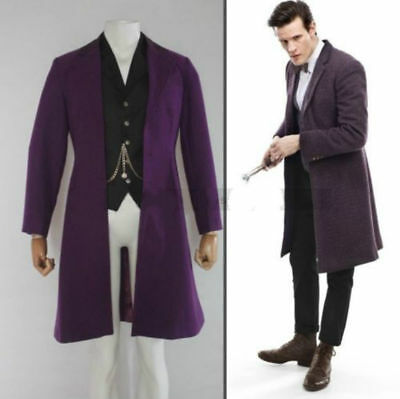 Dr. Doctor Who Is 11th Doctor Purple Coat Jacket Cosplay Costume Custom Made FF • 44.60£