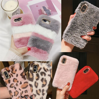 Soft Warm Plush Fluffy Phone Case Cover Comfy Faux Fur For IPhone Samsung Models • 4.99£