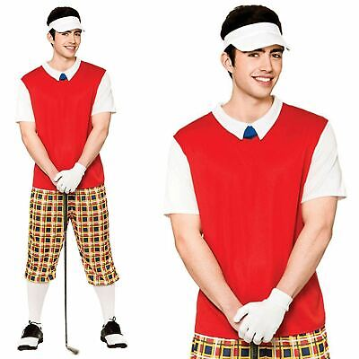 Adult Pub Golf Costume Mens Golfer Fancy Dress Outfit + Visor And Glove • 15.49£