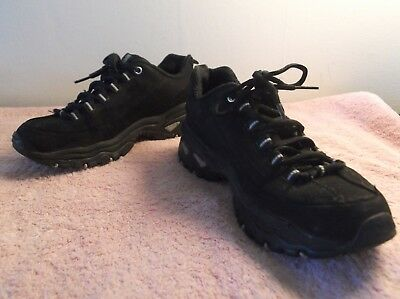 Skechers Sport Black Leather Trail / Hiking/ Walking Shoe, Size 6, EUC • 10.13£