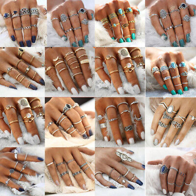 AU1.45 • Buy 15P/Set Bohemian Vintage Punk Moonstone Turquoise Above Knuckle Midi Finger Ring