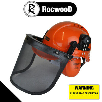 £18.65 • Buy Chainsaw Safety Helmet Hat With Large Metal Mesh Visor For Extra Protection