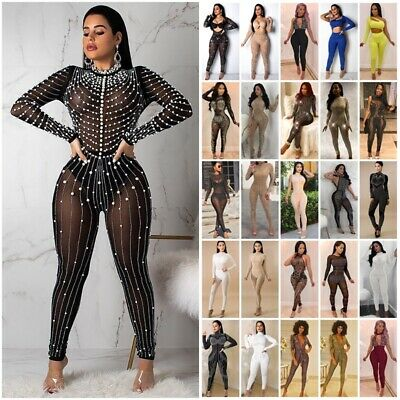Womens Reinstone Diamond Sequin Party Club Skinny Bodycon Mesh Jumpsuit Playsuit • 14.59£