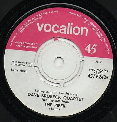 DAVE BRUBECK QUARTET The Piper*soliloquy 1962 UK VOCALION 45 • 9.99£