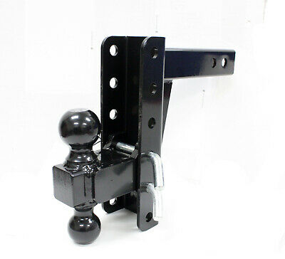 $83.99 • Buy HD Dual Tow Ball Hitch Mount Adjustable Drop Raise Trailer Hitch Towing RV Truck