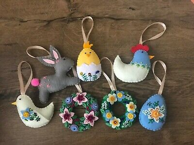 Handmade Felt Easter Decorations Easter Felt Ornaments • 4.90£