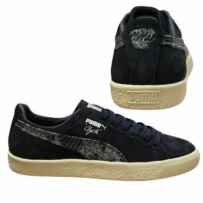 Puma Clyde Marine FM Mens Lace Up Low Top Suede Navy Trainers 364787 01 B27B • 29.99£