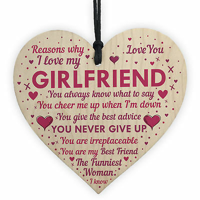 Perfect Romantic Valentines Gift For Your Girlfriend Wood Heart Anniversary Gift • 3.99£