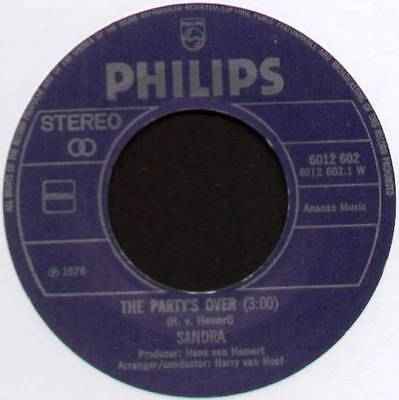 £6 • Buy [eurovision] Sandra ~ The Party's Over / Mrs. Lonely ~ 1976 Dutch 7  Single