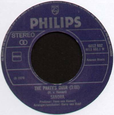 £6 • Buy [eurovision] Sandra~the Party's Over / Mrs. Lonely~1976 Dutch Vinyl 7  Single