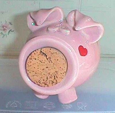 PIGGY Bank Pink Ceramic With Big Cork In His Mouth And Heart On His Cheek • 2.04£