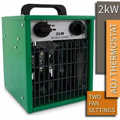 2KW Electric Industrial Space Fan Heater Greenhouse Workshop Garage Commercial • 49.99£