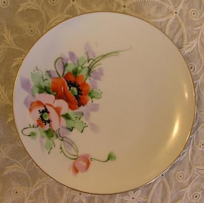 $5 • Buy Antique J & C Jaeger Bavaria 1902 Hand Painted Porcelain  6  Plate Poppies