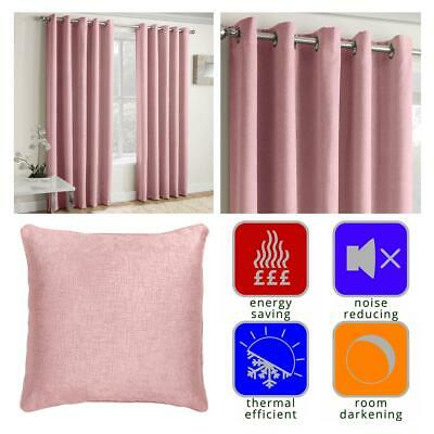 Blush Eyelet Curtains Pink Thermal Block-Out Ready Made Ring Top Curtain Pairs • 25.60£