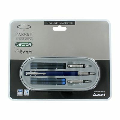 £10.33 • Buy Parker Vector Standard Blue CT Calligraphy Fountain Pen Set Free Ship