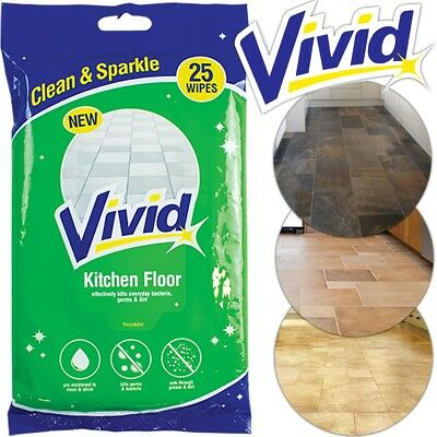 25 X KITCHEN FLOOR WET WIPES Large Mop Duster Hard Tile Stone Cleaner Sweeper UK • 4.13£