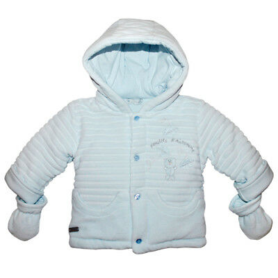 £24.95 • Buy COCO COLLECTION Baby Boy Blue Velour Coat & Mittens BNWT 5024