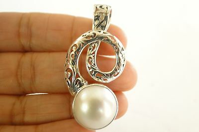 $69 • Buy Contemporary White Mabe Pearl Solitaire 925 Sterling Silver Pendant