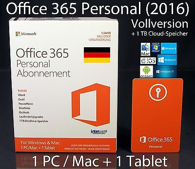 AU110.74 • Buy Microsoft Office 365 Personal (2016) Vollversion Box 1 PC/Mac + 1 Tablet Abo