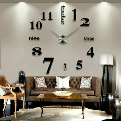Modern DIY 3D Large Number Wall Clock Mirror Sticker Decor Home Office Kids Room • 6.95£