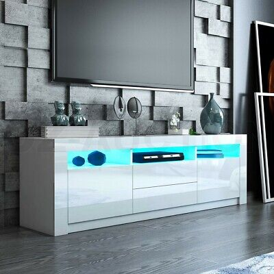 AU249.95 • Buy Modern RGB LED TV Stand Cabinet 160cm Wood Gloss Front Entertainment Unit White