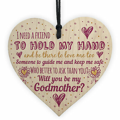 £3.99 • Buy Will You Be My Godmother Gift For Friend Wooden Heart Godparent Asking Gifts