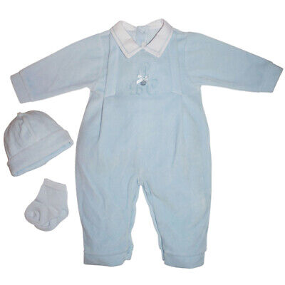 £24.95 • Buy COCO COLLECTION Baby Boy Pale Blue Velour All In One ABC - 5003 Beautiful  BNWT