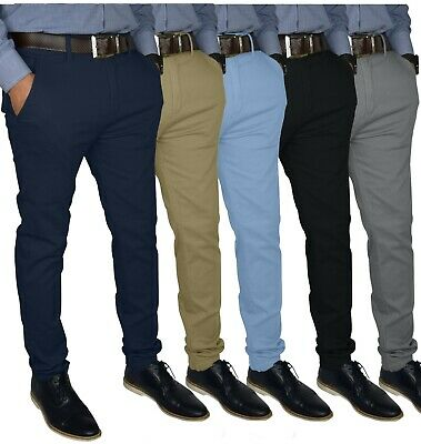$21.59 • Buy Mens Slim FIT Stretch Chino Trousers Casual Flat Front Flex Full Pants