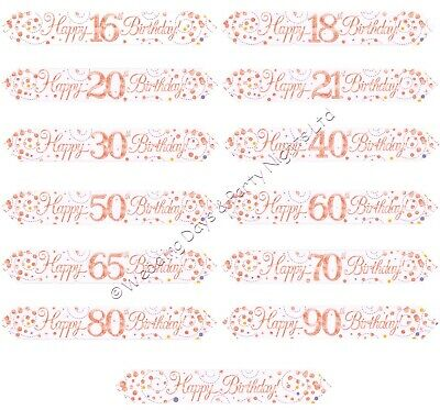 £1.69 • Buy 9ft Sparkly Rose Gold White Foil Banner Party Wall Door Window Decorations O