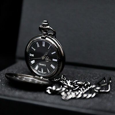 1920's Black Face Vintage Pocket Watch Quartz Chain Retro Design Fob Men's WATCH • 4.95£