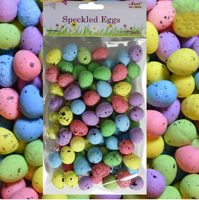 80 Mini Colourful Speckled Easter Eggs Decorating Bonnets Craft Egg Hunt 06477 • 2.45£