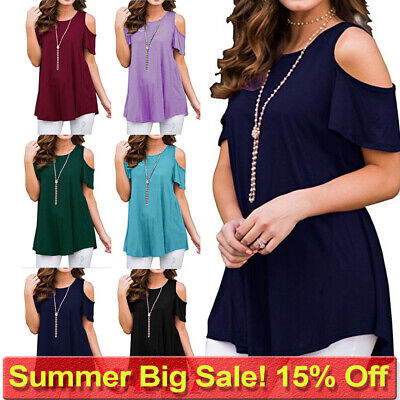 £8.65 • Buy Plus Size Womens Cold Shoulder T Shirt Ladies Summer Tunic Blouse Tee Tops Size