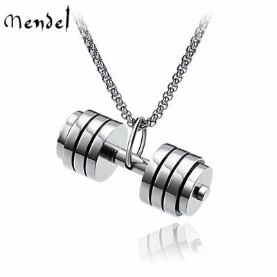 $10.99 • Buy MENDEL Mens Stainless Steel Barbell Gym Weight Lifting Dumbbell Necklace Pendant