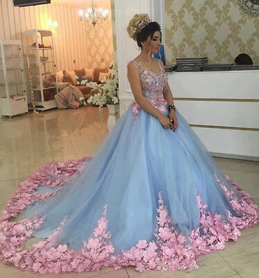 £109.85 • Buy Blue Quinceanera Dresses Floral Girls Dresses Prom Pageant Ball Gown Custom Size